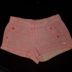 GIRLS TOMMY HILFIGER PINK BOUCLE SHORTS L 12/14